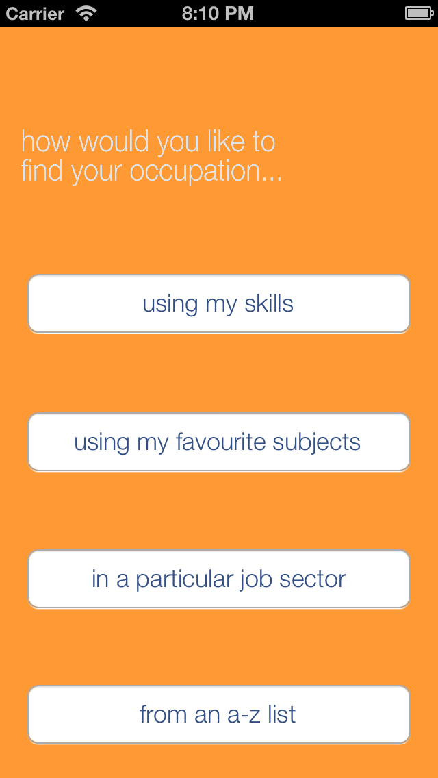 Occupations screenshot